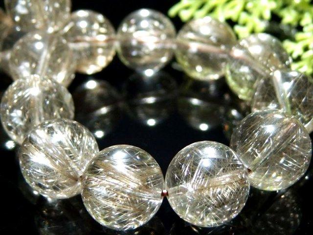 キラキラ金属光沢針 5A シルバールチル ブレスレット 12.5mm-13mm×17珠 針バランス良タイプ 極上 曇りなし 一点もの ブラジル産 sai