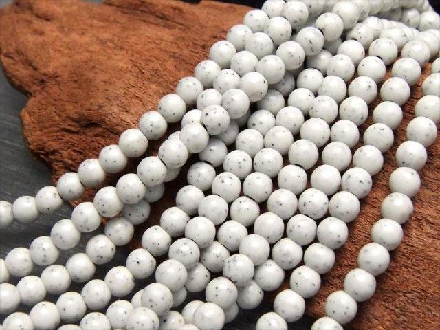 連売り 4mm(ホワイトタイプ) 心身を癒す人気ストーン 台湾産 北投石 ホクトライト 4mm珠 約40cm 極上天然石 温泉成分を含むラジウム鉱石 レアストーン