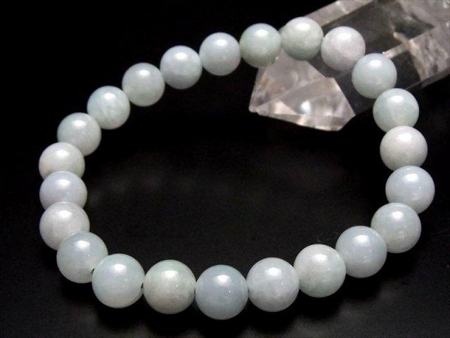 趣のある若葉色の透明感 AA+ ミャンマー産 ホワイトグリーンジェイド 翡翠 ブレスレット 8.5mm×23珠