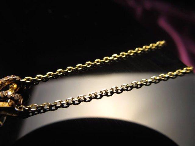 18金ゴールド仕様 CHN154 45cm 2面カットあずきチェーン ペンダントトップの相方 チェーン長さ45cm 幅約1.3mm 金具最大幅約6mm 高品質Silver925