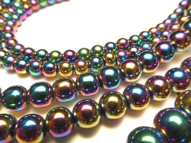激安宣言 虹色光沢が美しい 4mm珠 ヘマタイト(赤鉄鉱)レインボーカラー 一連 約38cm ブラジル産 geki
