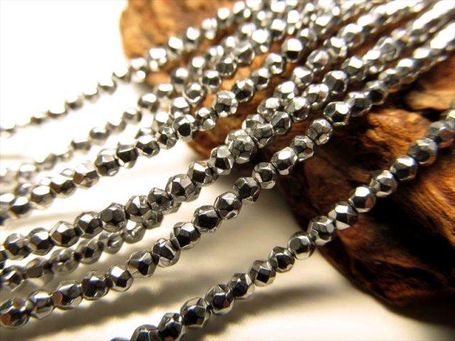 ネックレスなどに 極小サイズ 2mm珠 一連 ヘマタイトボールカット ホワイトシルバーカラー 約36cm 穴径約0.8mm