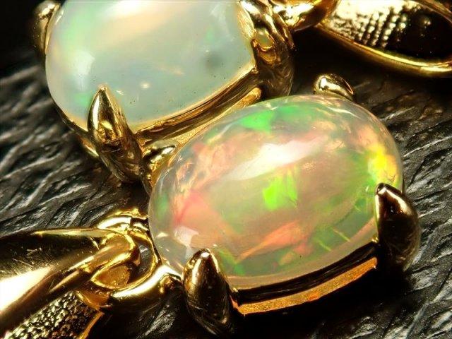 超透明宝石質5A プレシャスオパール・ペンダントトップ(蛋白石) ぷっくりオーバル型タイプ 石サイズ縦約8mm前後 18金ゴールド仕様SILVER925 ゴールドカラータイプ メキシコ産