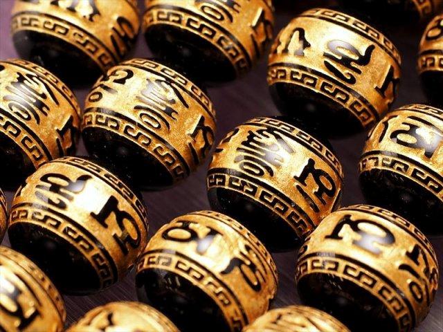 金塗り 梵字 六字真言 六字大明王陀羅尼 浮き彫刻入り 12-12.5mm前後珠 一連 ブラックオニキス 約39cm