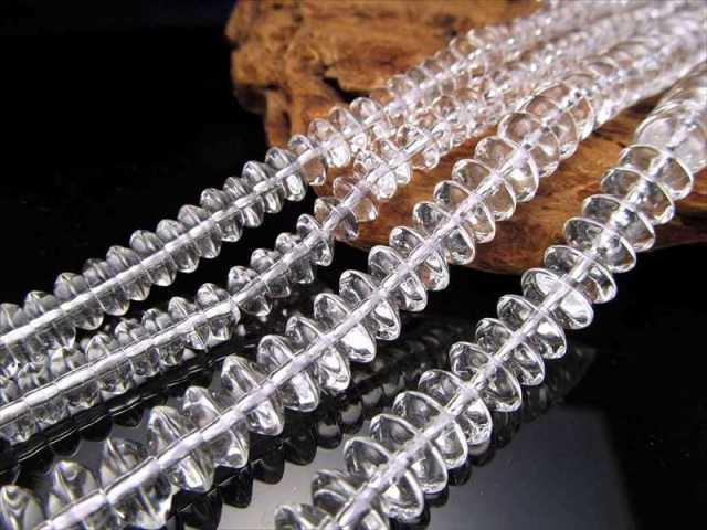 激安宣言 ボタン型 8mm-9mm 天然水晶ボタンビーズ石 一連 約38cm ロンデル ブラジル産 geki