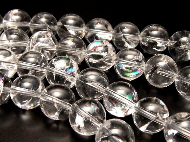 虹入り厳選入荷 8mm珠 一連 アイリスクォーツ(天然虹クラック水晶) AAA 約40cm 極上 天然石 ビーズ ブラジル産
