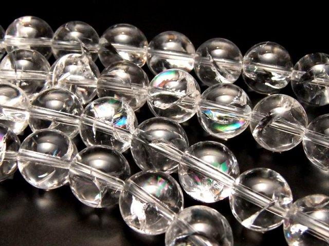 虹入り厳選入荷 10mm珠 一連 アイリスクォーツ(天然虹クラック水晶) AAA 約40cm 極上 天然石 ビーズ ブラジル産