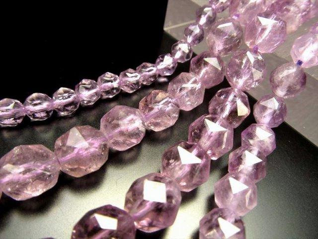 極上宝石質 6mm珠 天然ラベンダーアメジスト スターカット(紫水晶) 約40cm 一連破格 極上 天然石 ビーズ ブラジル産