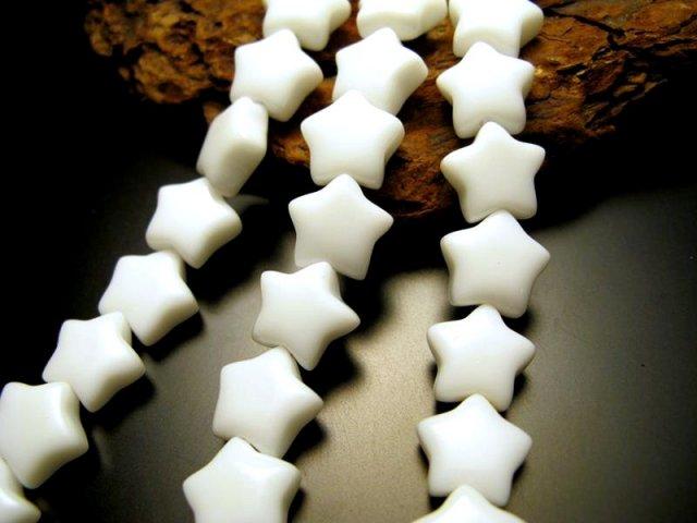 星型 スター 12mm 一連 ホワイトオニキス 白瑪瑙 約40cm 極上 天然石 ビーズ パワーストーン