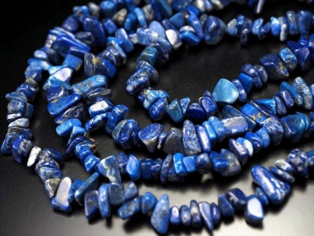 激安奉仕 ラピスラズリさざれ連 4mm-13mm珠前後 約82cm 鮮やかブルー ネックレスなどに アフガニスタン産