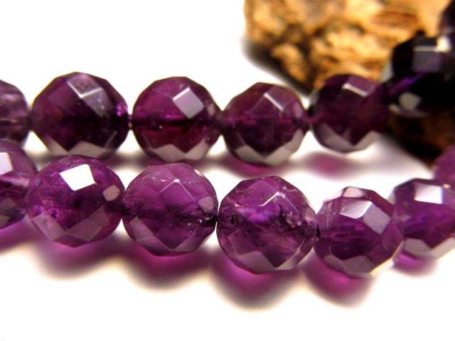 激安宣言 カット64面 一連破格 8mm珠 アメジストカット 紫水晶 約40cm 極上 天然石 ビーズ パワーストーン geki