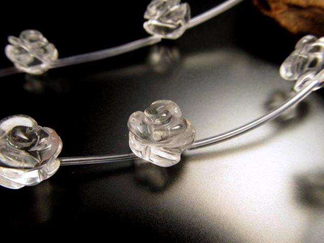 薔薇彫り 10mm 粒売り 1珠 手彫り薔薇彫り 天然水晶 極上天然石 パワーストーン