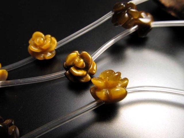 薔薇彫り 10mm 粒売り 1珠 手彫り薔薇彫り タイガーアイ 極上天然石 パワーストーン