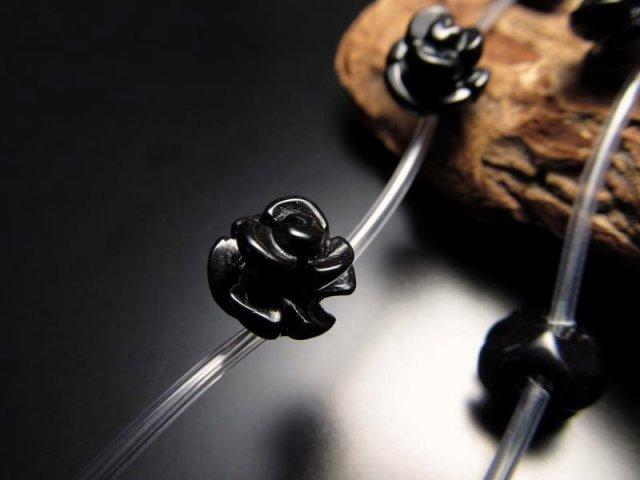 薔薇彫り 10mm 粒売り 1珠 手彫り薔薇彫り オニキス 極上天然石 パワーストーン