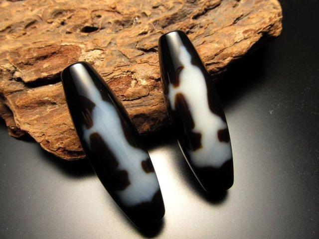 A至純天珠 双観音天珠(そうかんのんてんじゅ) サイズ:約37ミリ 極上 天然石 ビーズ パワーストーン