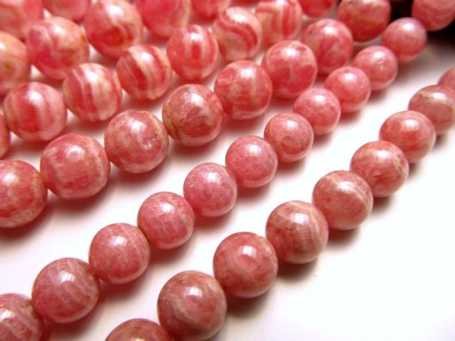8-8.5mm珠 一連 インカローズ(ロードクロサイト) 約40cm 極上 天然石 ビーズ パワーストーン