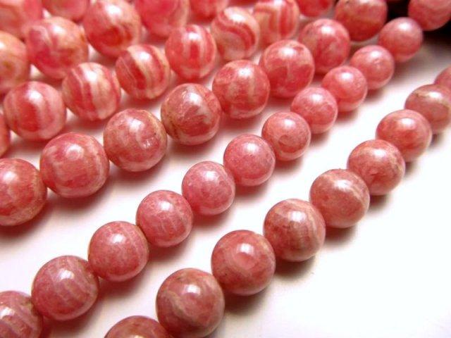 10mm珠 一連 インカローズ(ロードクロサイト) 約40cm 極上 天然石 ビーズ パワーストーン