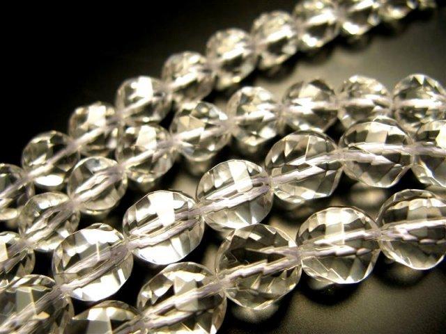 S字ウェーブカット 8mm珠 一連 天然水晶ウェーブカット(クリスタル) 約40cm 極上 天然石 ビーズ S字ウェーブカット