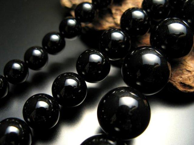 激安宣言 16mm珠 一連 ブラックオニキス 約40cm 極上 天然石 ビーズ パワーストーン geki