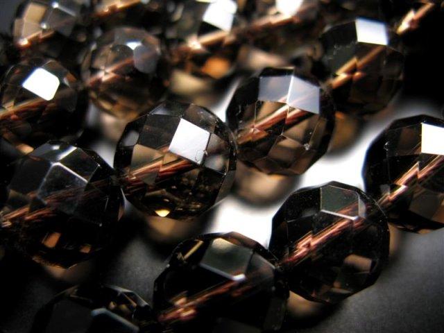 激安宣言 AAA 64面カット 12mm珠 スモーキークォーツ(煙水晶) 一連 約39cm 極上 天然石 ビーズ パワーストーン ブラジル産 geki