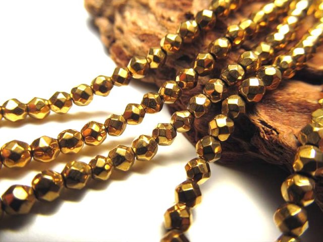 ネックレスなどに 小粒サイズ 3mm珠 一連 ヘマタイトボールカット ゴールドカラー 約40cm 穴径約1mm