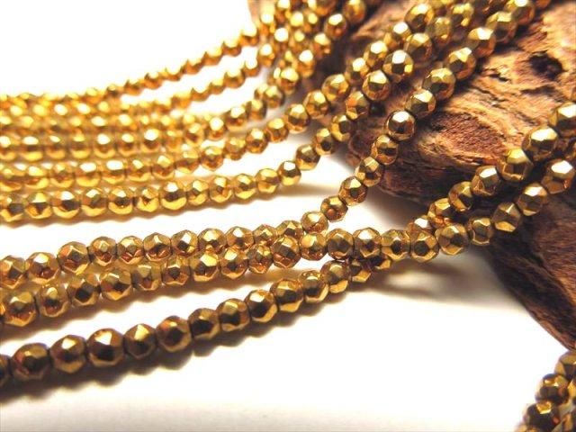 ネックレスなどに 極小サイズ 2mm珠 一連 ヘマタイトボールカット ゴールドカラー 約36cm 穴径約0.8mm