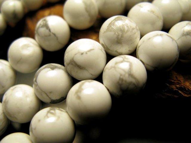 激安宣言 12mm珠 ハウライト 一連 約39cm 極上 天然石 ビーズ パワーストーン アメリカ産 geki