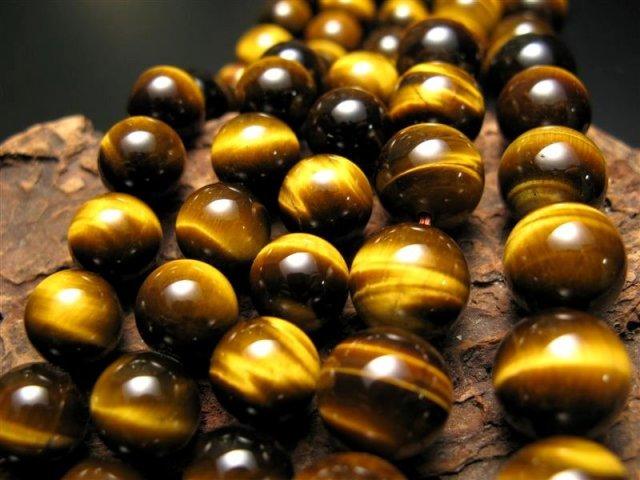 激安宣言 AAA+ 14mm珠 極上タイガーアイ(イエロー) 一連 約39cm 極上 天然石 ビーズ パワーストーン 南アフリカ産 geki