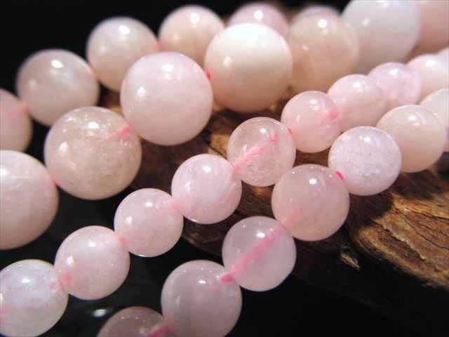 ミルキー淡いピンク&オレンジ 6mm前後珠 一連 A+モルガナイト ピンクアクアマリン 約40cm モルガン石