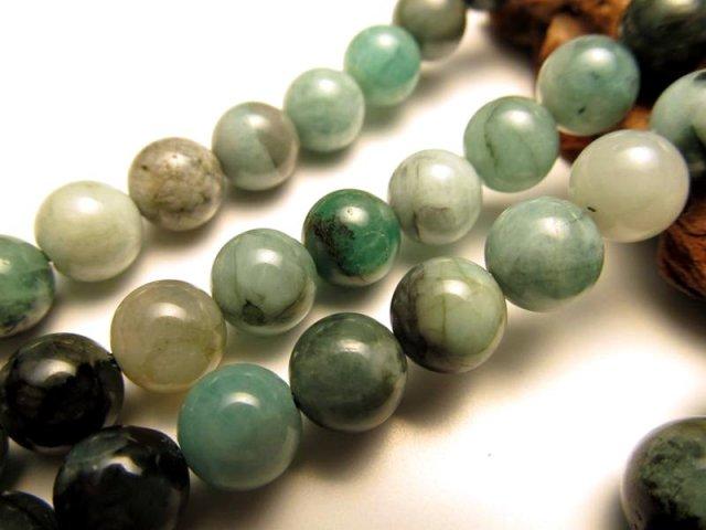 10mm珠 一連 エメラルド 翠緑玉 約40cm