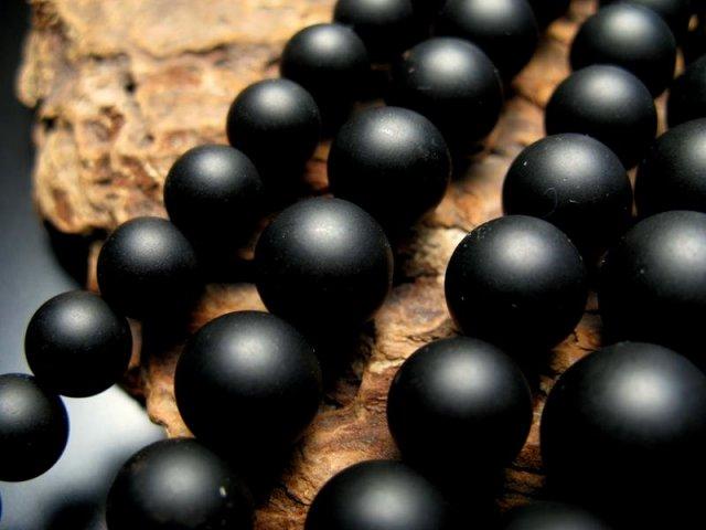 激安宣言 つや消しマット 一連破格 12mm珠 ブラックオニキス(つや消しブラック ) 約38cm 極上 天然石 ビ-ズ パワーストーン geki