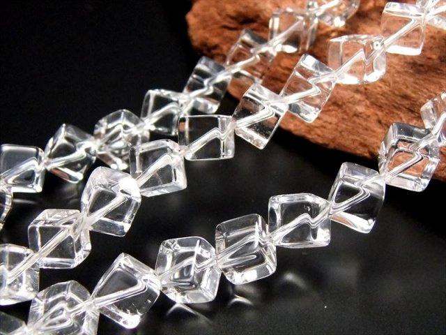 対角斜め穴あき キューブ型 6×6mm 一連 水晶 サイコロ型(熔練水晶) 約40cm 極上 天然石 ビーズ パワーストーン