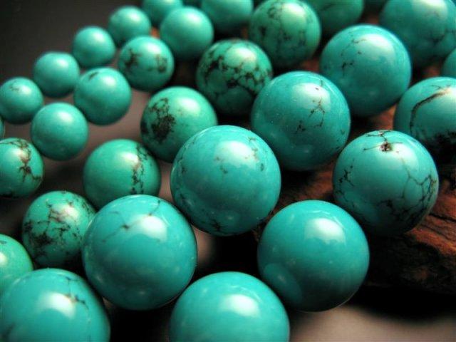 激安宣言 14mm珠 ターコイズ(トルコ石) 一連 約39cm (天然染色) 極上 天然石 連売り パワーストーン geki