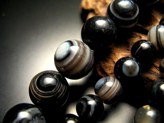 激安宣言 14mm珠 天眼メノウ(アイアゲート) 一連 約39cm 極上 天然石 ビーズ パワーストーン ブラジル産 geki