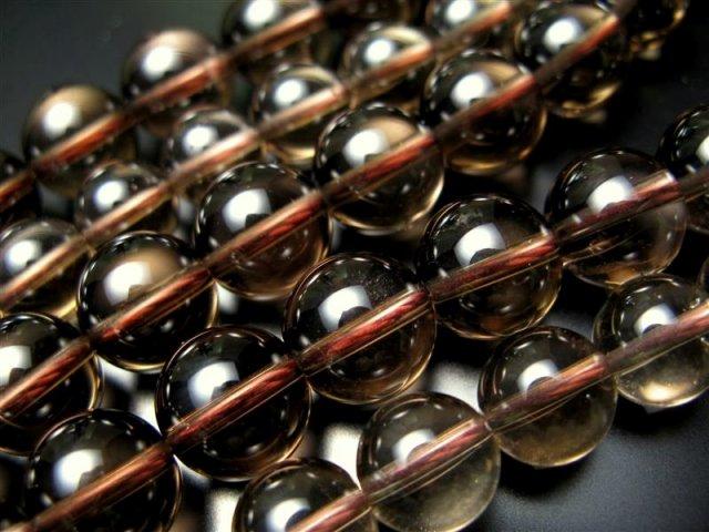 激安宣言 AAA 14mm珠 スモーキークォーツ(煙水晶) 一連 約39cm 極上 天然石 ビーズ パワーストーン ブラジル産 geki