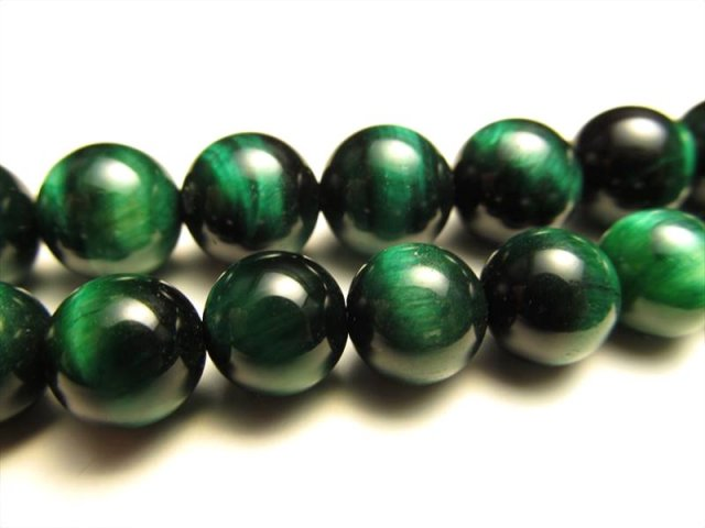 グリーンカラー NEW 10mm-10.5mm珠 一連 タイガーアイ(グリーン)AAA 約40cm 南アフリカ産