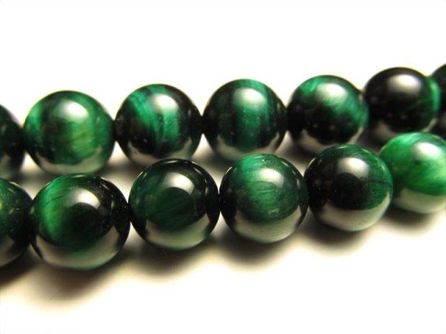 グリーンカラー NEW 12mm珠 一連 タイガーアイ(グリーン)AAA 約40cm