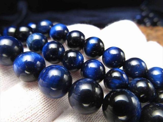 ブルーカラー NEW 12mm-12.5mm珠 一連 タイガーアイ(ブルー)AAA 約39cm