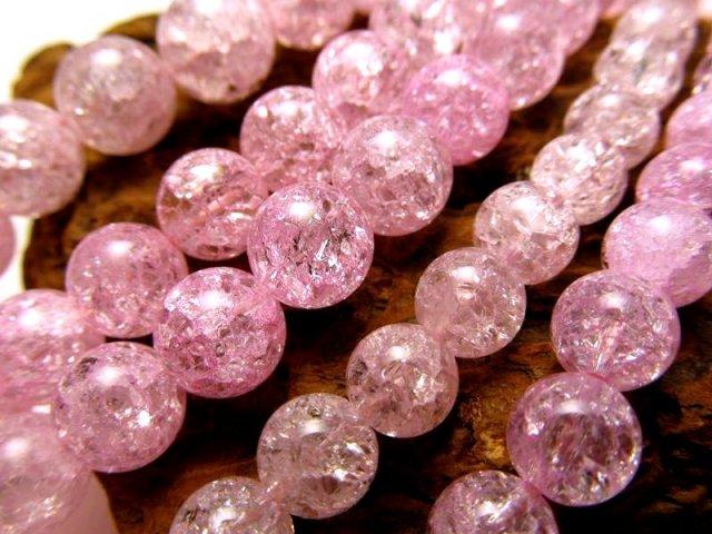 激安宣言 ピンク(桃)カラー 10mm珠 カラーレインボー水晶(爆裂水晶) 一連 約39cm ピンク染色 ブラジル産 geki
