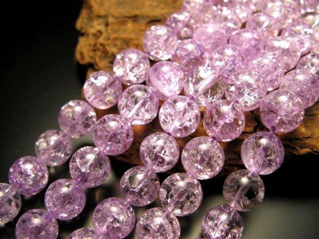 激安宣言 パープル(紫)カラー 12mm珠 カラーレインボー水晶(爆裂水晶) 一連 約39cm パープル染色 ブラジル産 geki