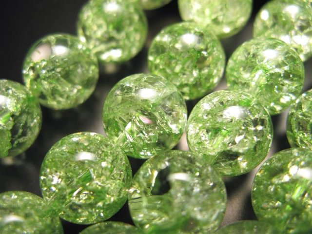 激安宣言 グリーン(緑)カラー 12mm珠 カラーレインボー水晶(爆裂水晶) 一連 約39cm グリーン染色 ブラジル産 geki