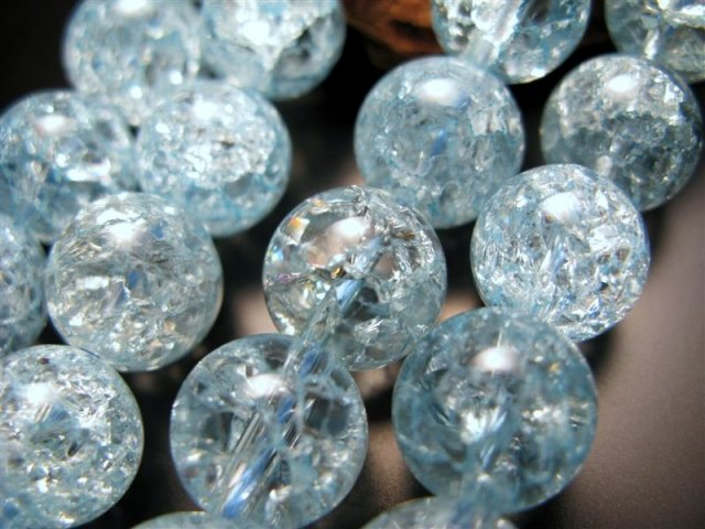 激安宣言 ブルー(水色)カラー 12mm珠 カラーレインボー水晶(爆裂水晶) 一連 約39cm ブルー染色 ブラジル産 geki