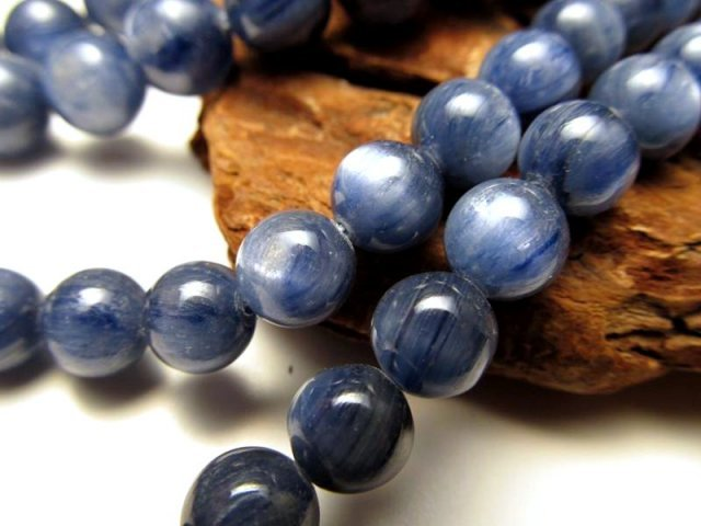 NEW 8mm珠 一連 AAAカイヤナイト 藍晶石 約40cm 極上 天然石 ビーズ パワーストーン