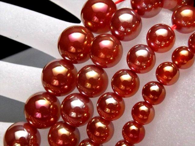 激安宣言 カーネリアンオーラ 12mm珠 一連 カーネリアン オーラタイプ 蒸着赤瑪瑙 約38cm geki
