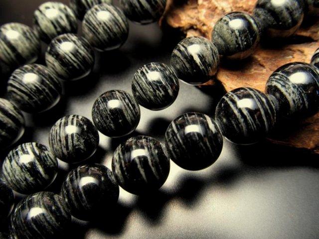 レア 14mm珠 一連 アリゾナ産ゼブラジェイド 縞翡翠 約40cm