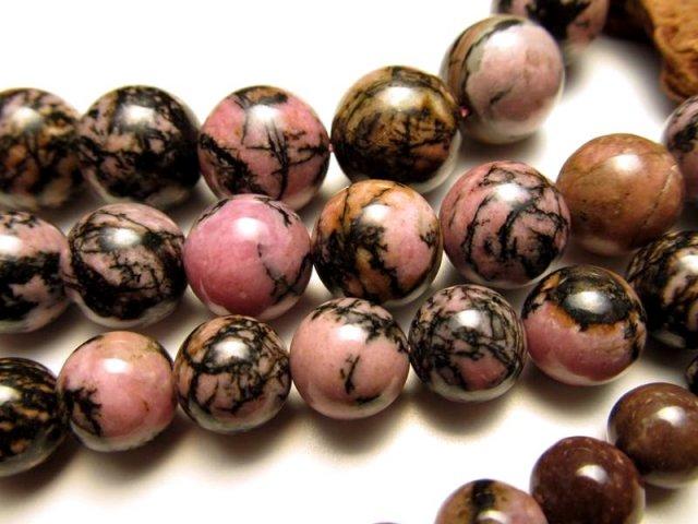 激安宣言 14mm珠 テンドリック ロードナイト(薔薇輝石) 一連 約39cm 天然石 ビーズ パワーストーン ブラジル産 geki