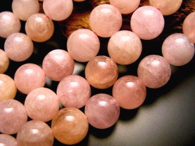 値下げ中 ミルキー淡いピンク&オレンジ 12-12.5mm珠 一連 A+モルガナイト ピンクアクアマリン 約40cm モルガン石