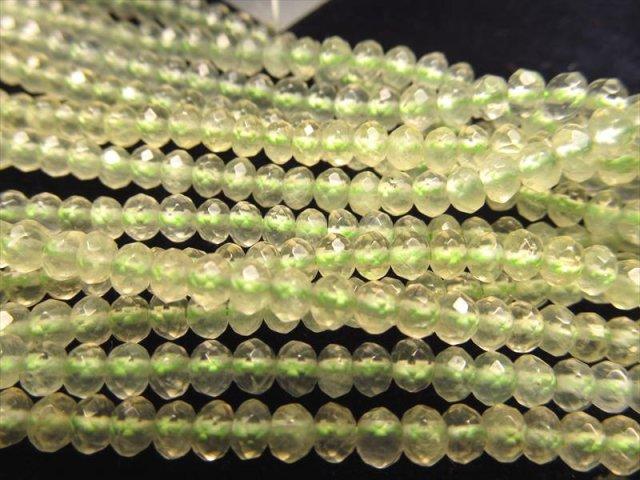 繊細カット 4mm 一連 プレナイト繊細ボタンカット 約40cm ロンデル
