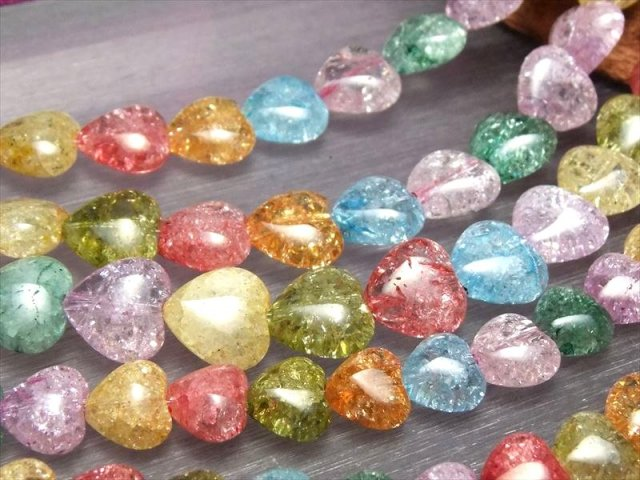可愛らしいハート型 10mmサイズ 一連 マルチカラーレインボー水晶 ハート型ビーズ石 幅約10mm 約40cm