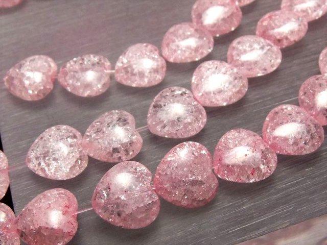 可愛らしいハート型 12mmサイズ 一連 ピンクカラーレインボー水晶 ハート型ビーズ石 幅約12mm 約40cm